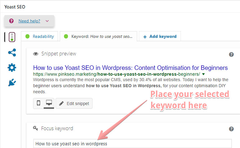 how to use yoast seo in wordpress Focus keyword
