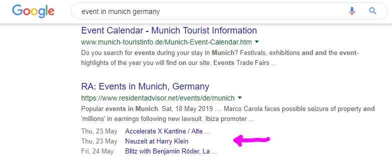 featured snippets events