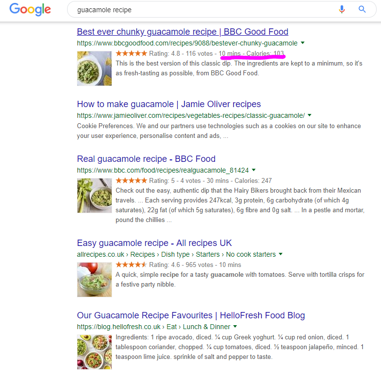 featured snippets guacamole recipe