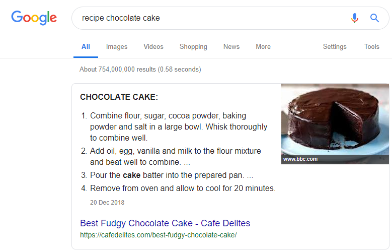 featured snippets recipe